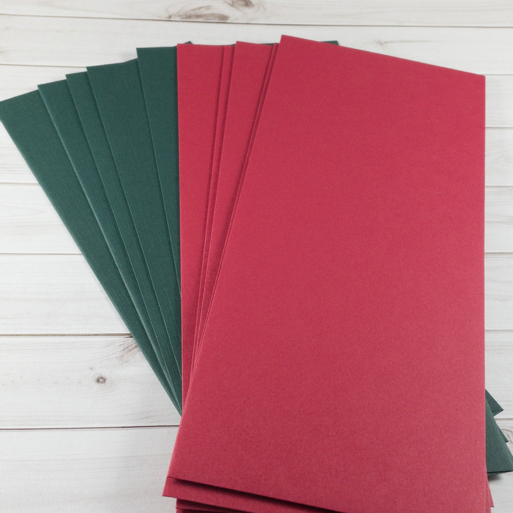 Red and Green Slimline Envelopes