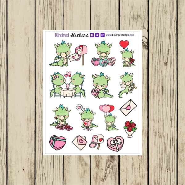 Dragon Valentine Planner Sticker Sheet