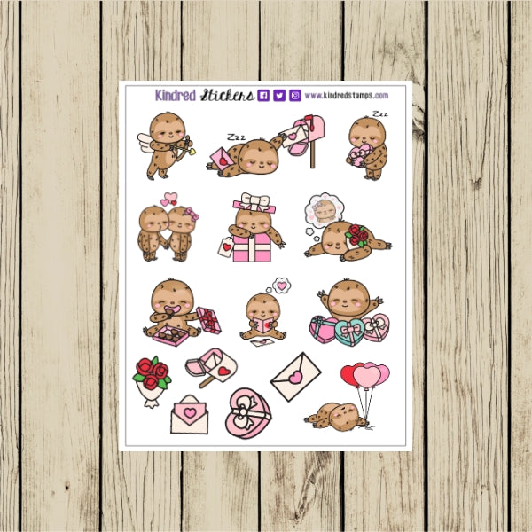 Sloth Valentine Planner Sticker Sheet