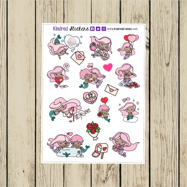 Valentine Mermaids Stickers