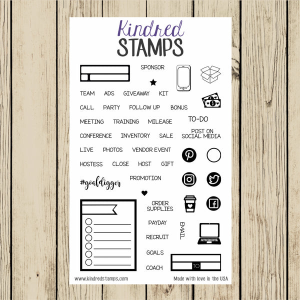 4x6 Direct Sales Planner Stamp Set, Clear Stamp Set, Planner Stickers, Business, DS, Makeup, Wraps, Leggings, Essential Oils, Label
