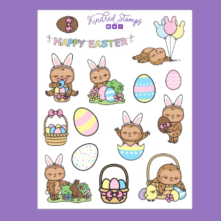 Easter Sloth Sticker Sheet