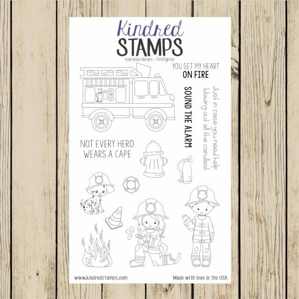 Everyday Heroes Firefighter 4x6 Clear Rubber Stamp Set
