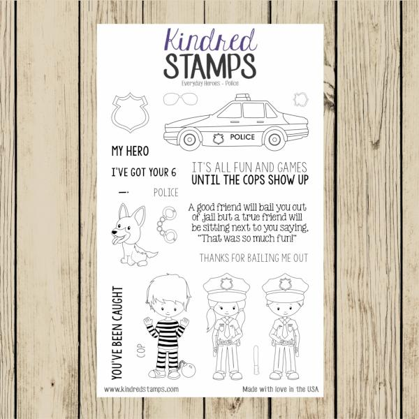 Everyday Heroes Police 4x6 Clear Rubber Stamp Set