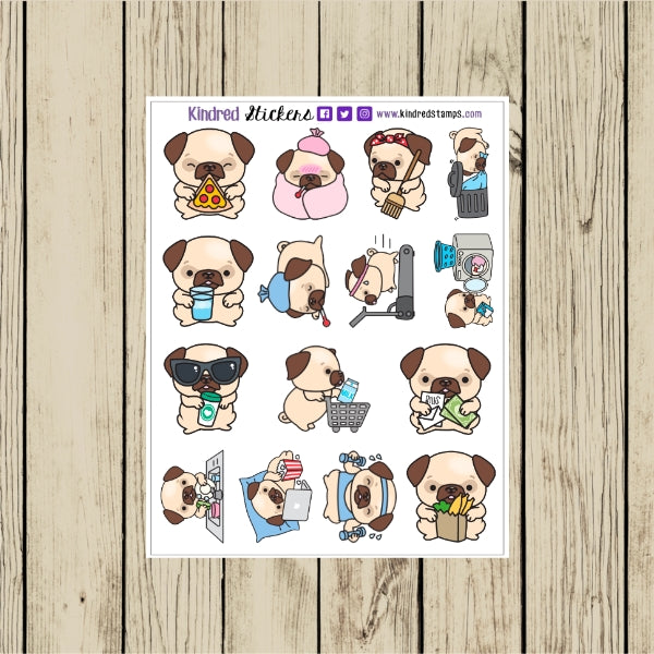 Cute Pug Planner Stickers