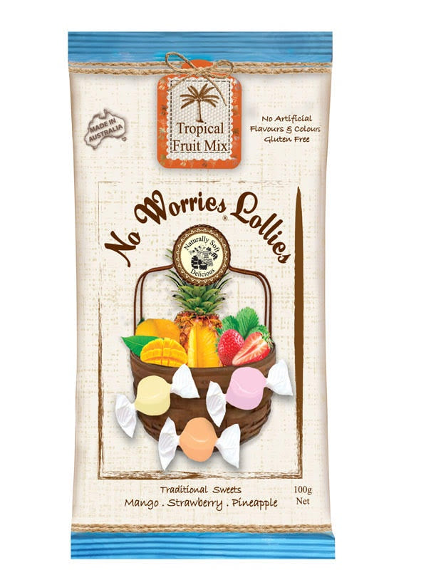 No Worries Lollies - Tropical Fruit Mix 100g