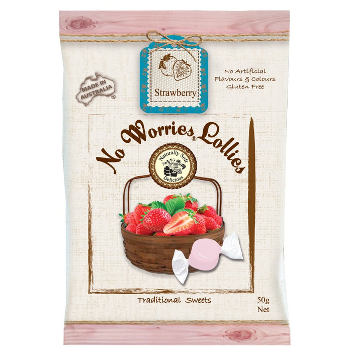 No Worries Lollies - Strawberry 50g