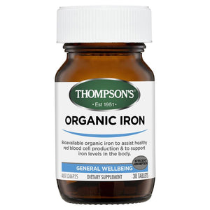 Thompsons Organic Iron 24mg Tablets (30)