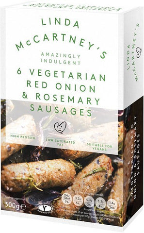 Linda McCartney Red Onion & Rosemary Sausages (cold)