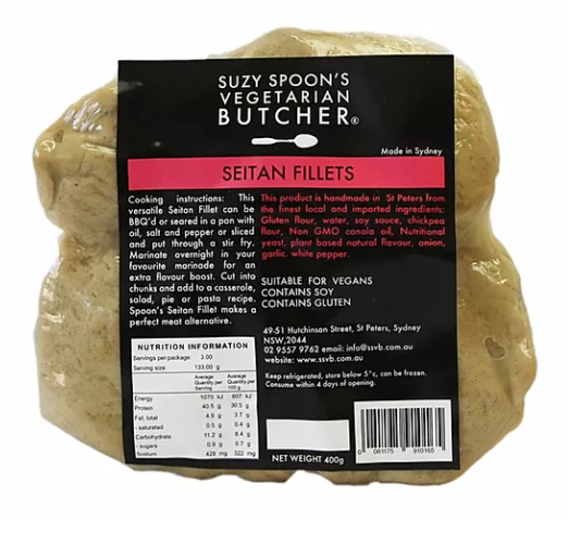 Suzy Spoons Seitan Fillets 400g (cold)