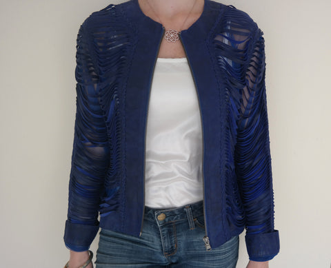 Royal Blue Shredded Leather Jacket