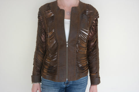 Brown Shredded Leather Jacket