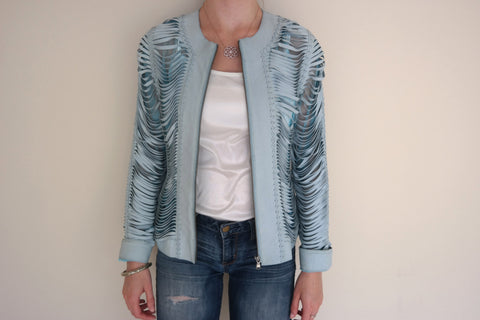 Light Blue Shredded Leather Jacket
