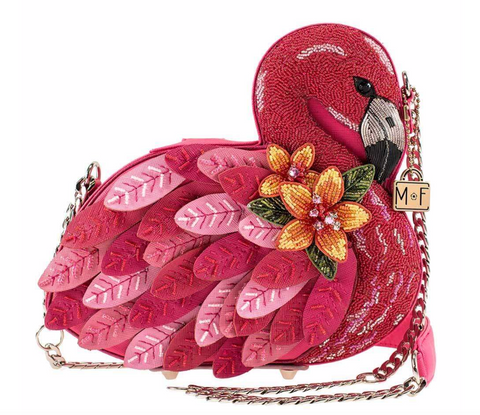 Ruffle My Feathers Beaded Crossbody Flamingo Handbag