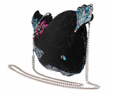 Whale Watching Beaded Whale Crossbody Handbag