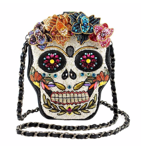 Sugar Rush Beaded Sugar Skull Crossbody Handbag