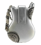 On Tour Beaded Silver Crossbody Guitar Handbag