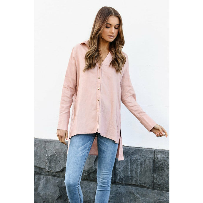 Madison The Label Mandi Linen Shirt - Pink