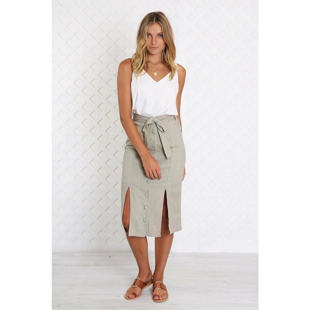 Madison The Label Melanie Midi Skirt - Stone