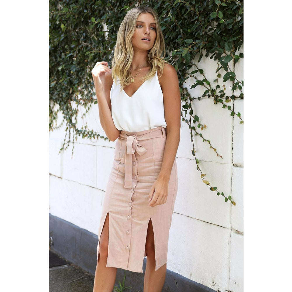 Madison The Label Melanie Midi Skirt - Blush