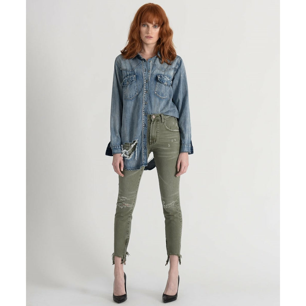 One Teaspoon Super Khaki Freebirds High Waist Skinny Jean - Khaki