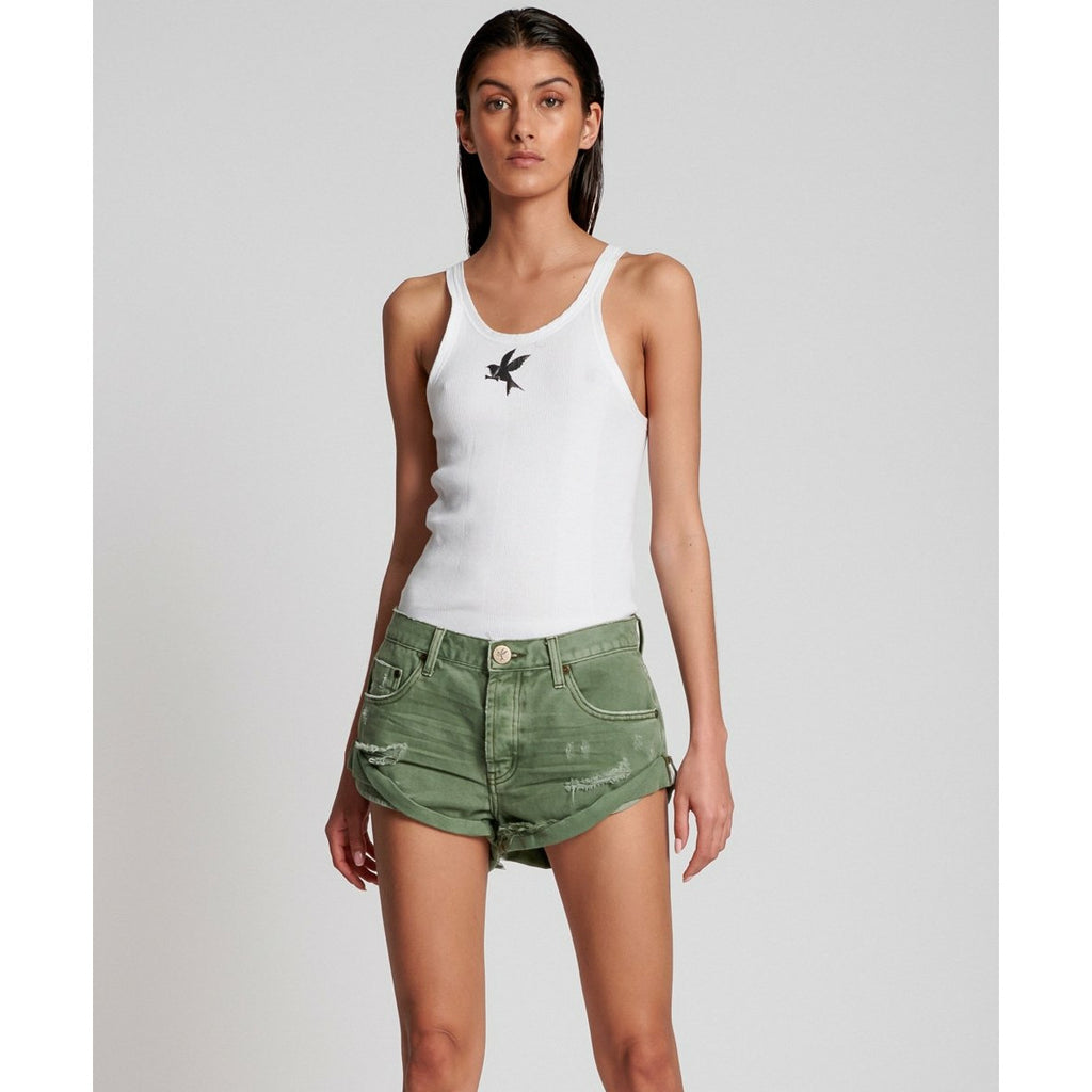 One Teaspoon Super Khaki Bandits Denim Short - Super Khaki