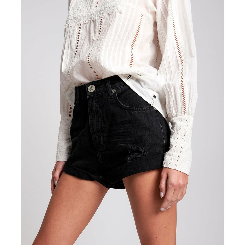 One Teaspoon Black Bandits High Waist Shorts - Black