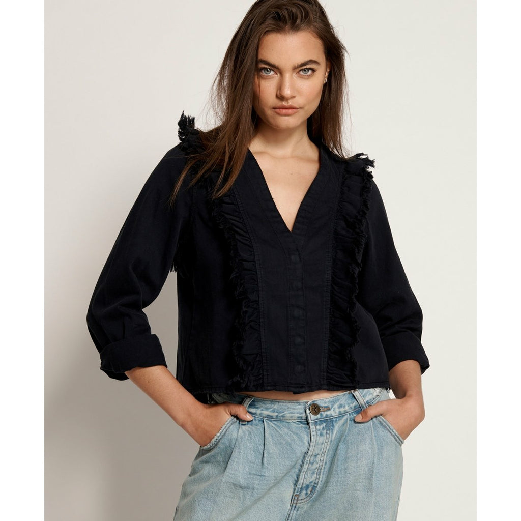 One Teaspoon Fox Black Captain Ruffle Shirt - Black