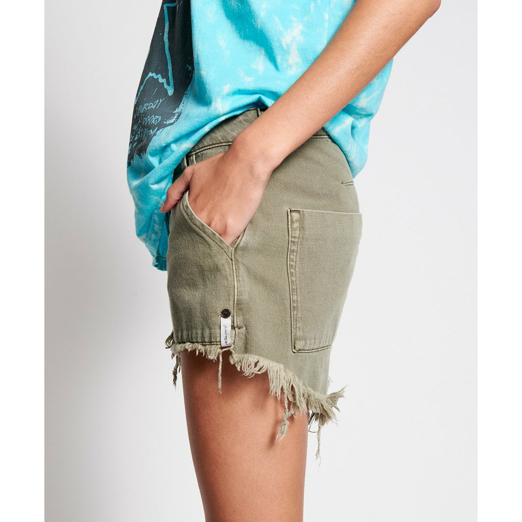 One Teaspoon Vintage Khaki Cargo Le Wolves Mid Length Denim Short - Khaki
