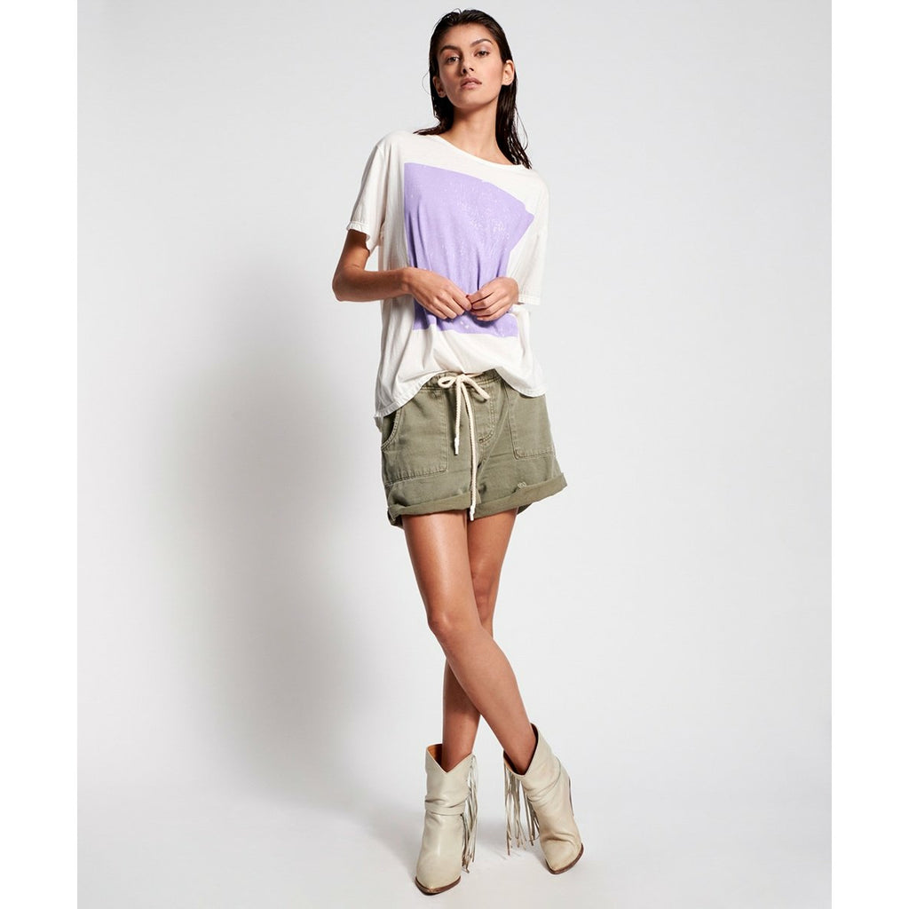 One Teaspoon Khaki Shabby Bandit Denim Short - Khaki