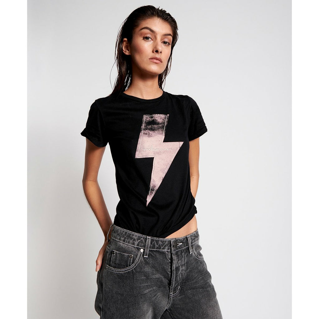 One Teaspoon Black Lightening Fitted Tee - Black