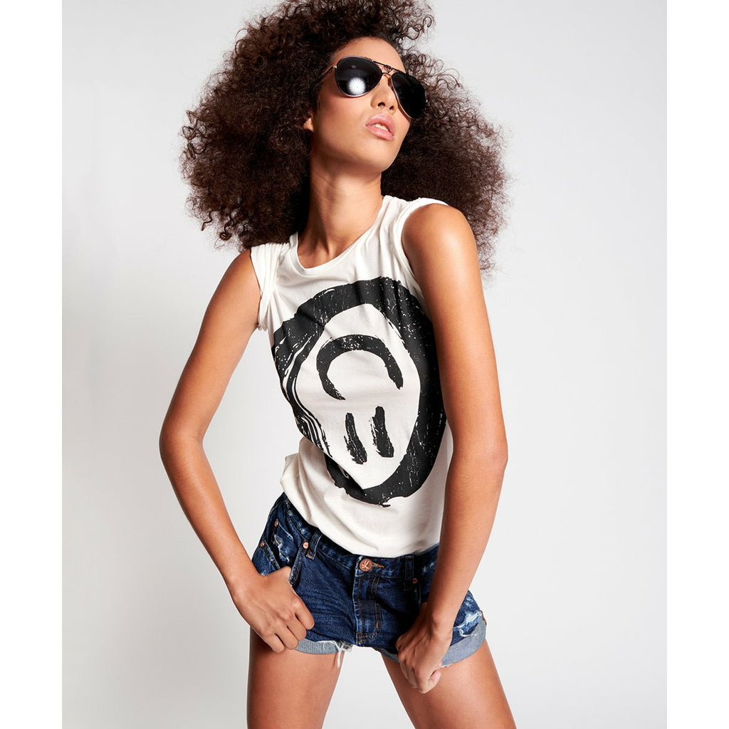 One Teaspoon Black Smiley Fitted Tee - White