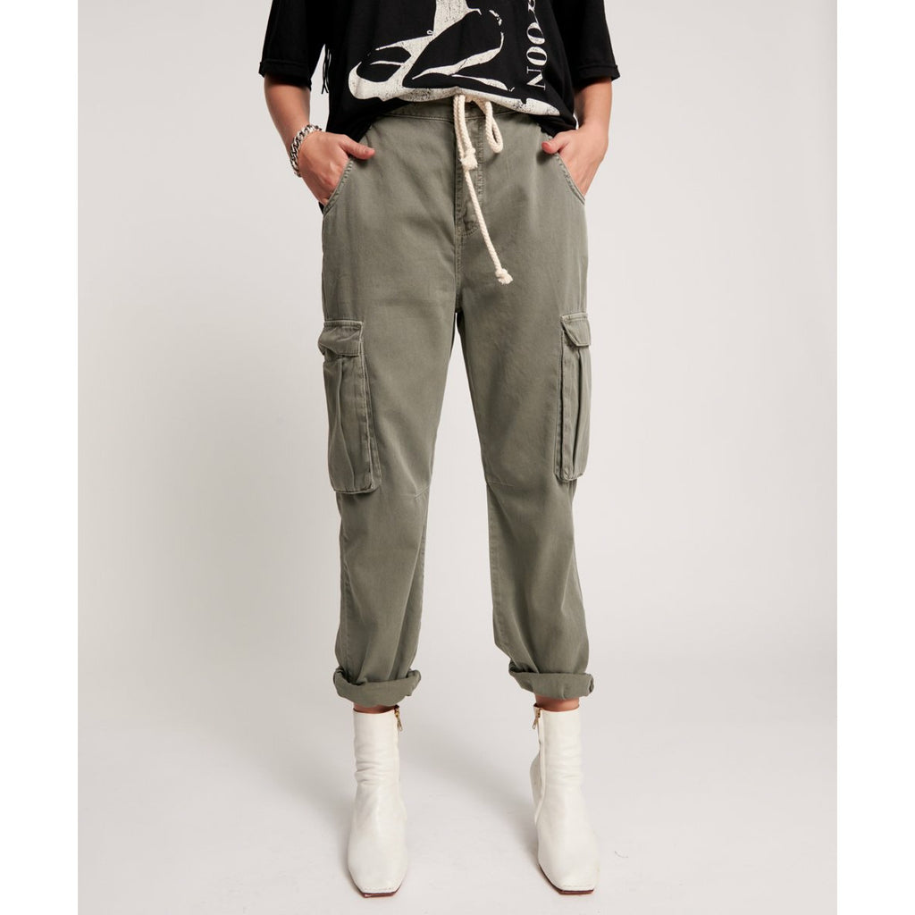 One Teaspoon Dark Khaki Cargo Safari Mid Waist Relaxed Pant - Dark Khaki