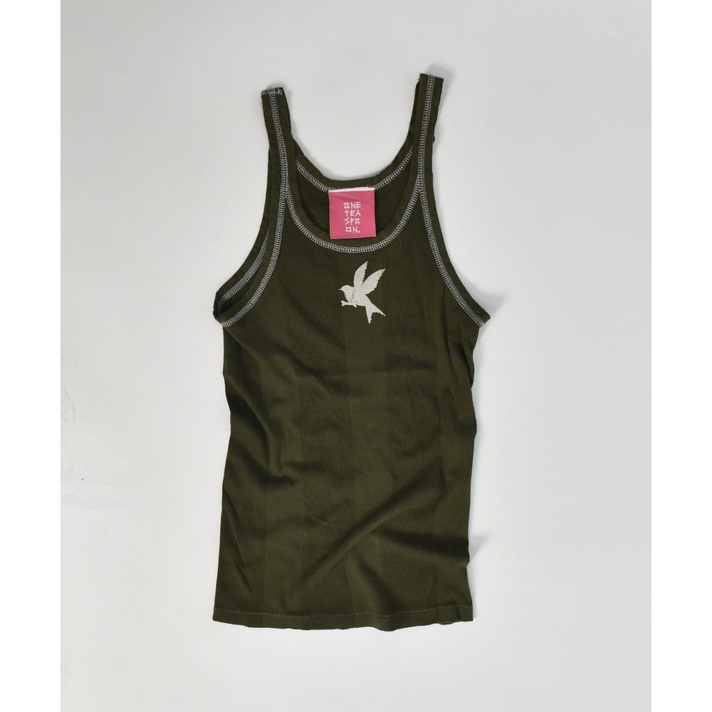 One Teaspoon Worn Khaki Bower Bird Singlet - Worn Khaki