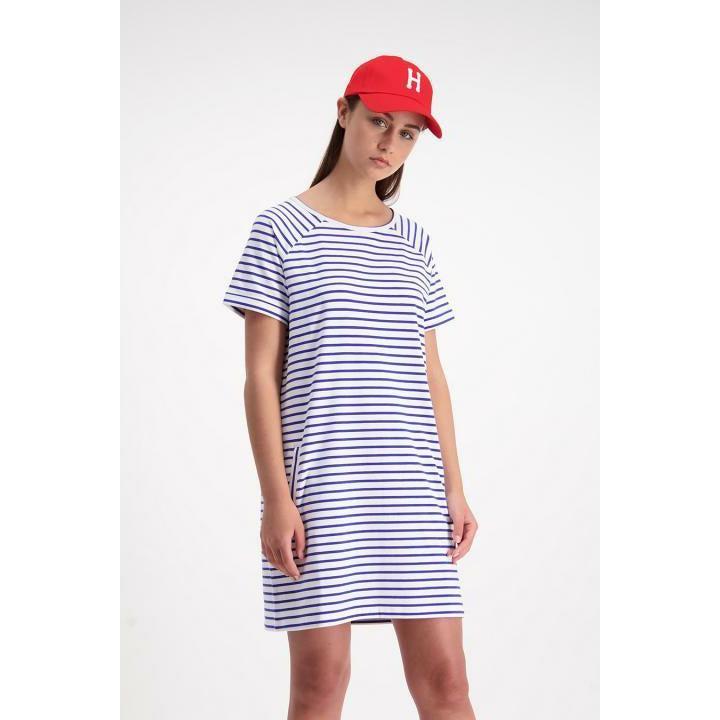 Huffer Camden SS Raglan Dress - Blue/White