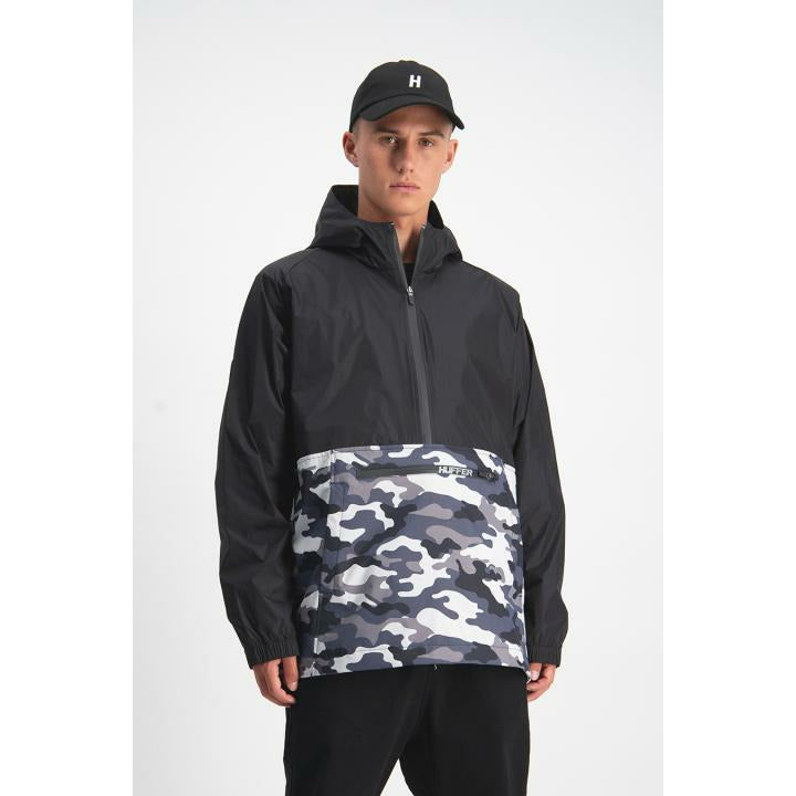 Huffer Mans Spray Anorak - Black Camo
