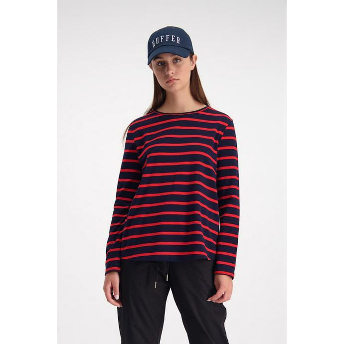 Huffer Racing Long Sleeve Avenue Tee - Navy/Red
