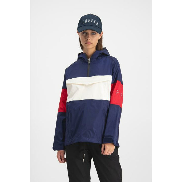 Huffer Womens Track Anorak - Navy/Red