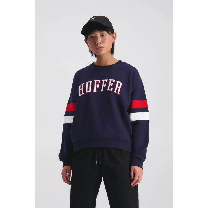 Huffer Itsuki Slouch Crew 2.0 - Navy/Red
