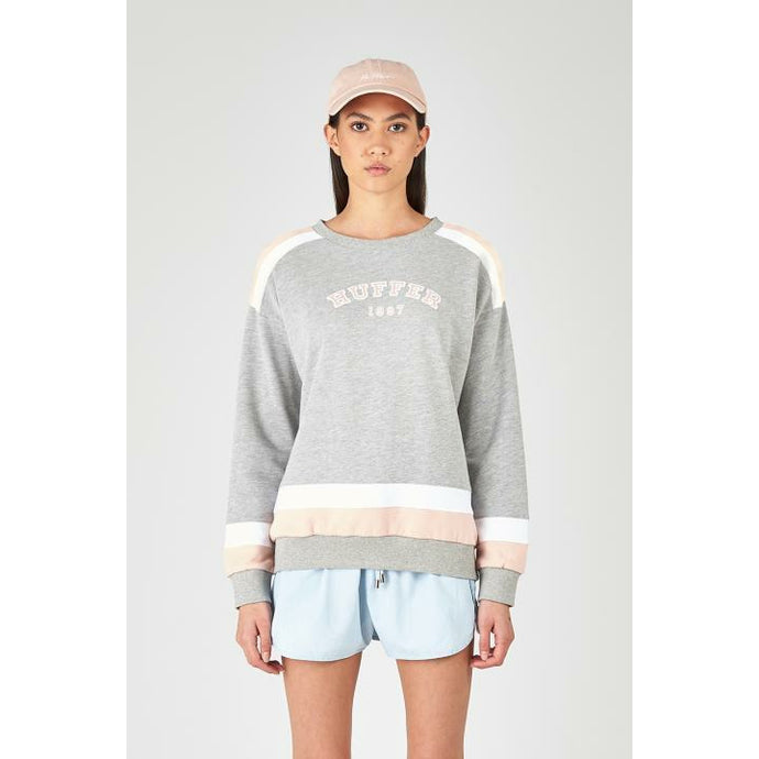 Huffer Rise Crew - Grey Marle/Pink