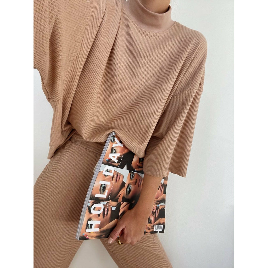 Araminta James Waffle Turtleneck - Coffee