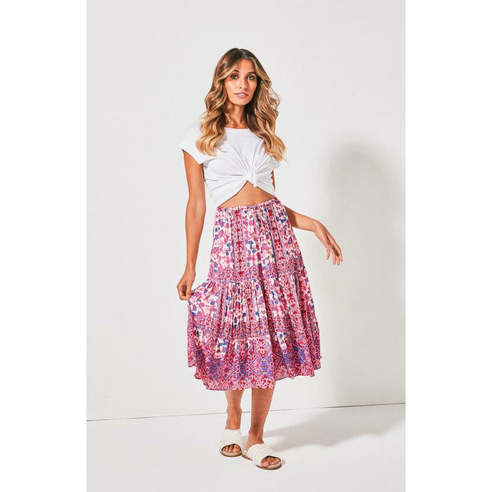 Cartel & Willow Avril Midi Skirt - Rose Marrakesh