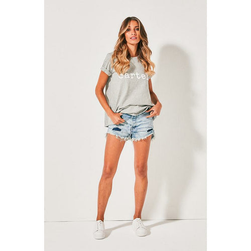 Cartel & Willow Beaded Tee - Grey Marle