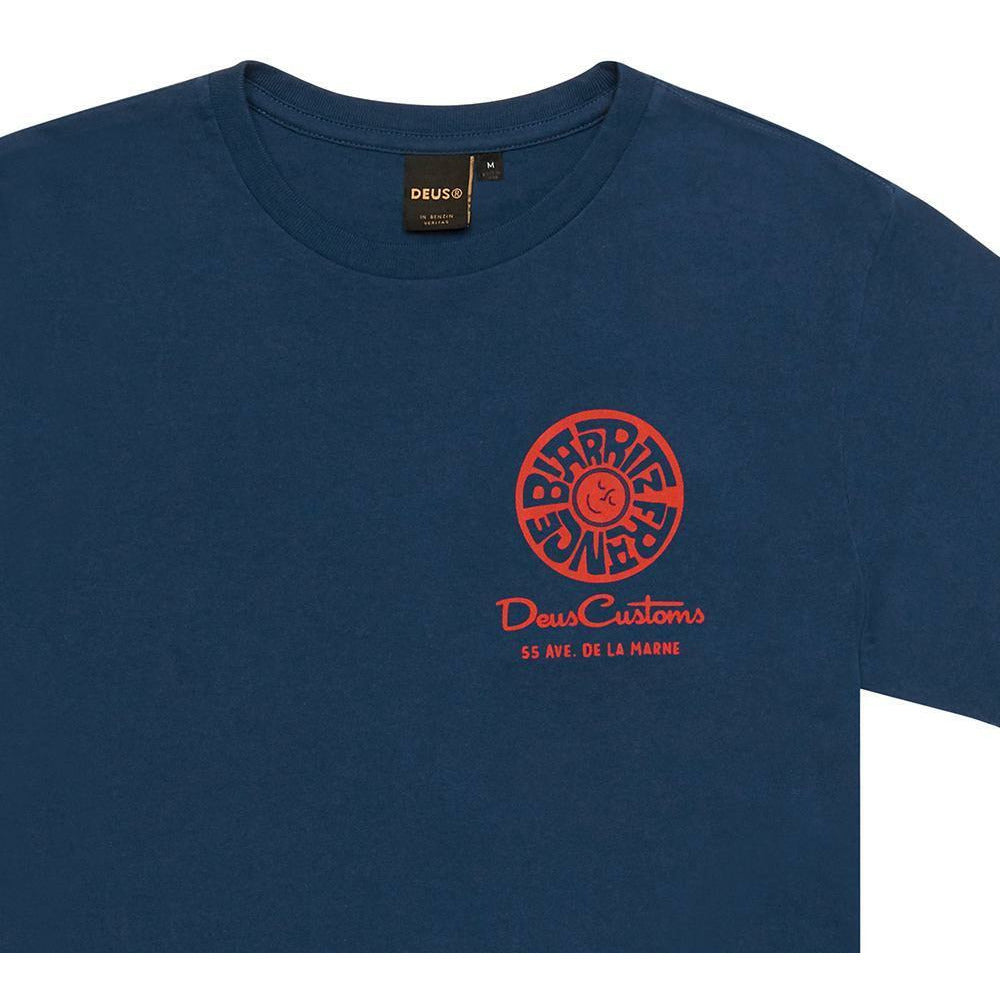 Deus Ex Machina Biarritz Address Tee - Mid Blue