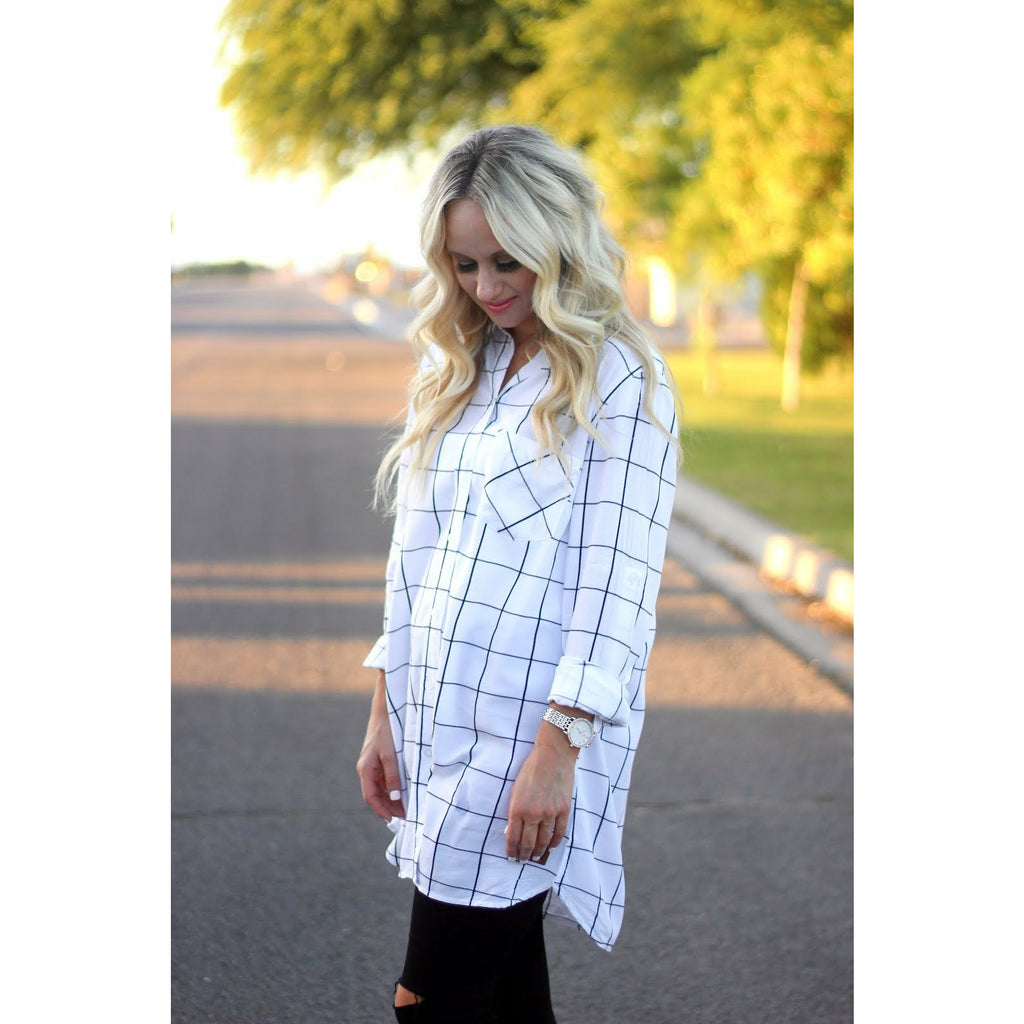 Beau Hudson Grid Dress - White