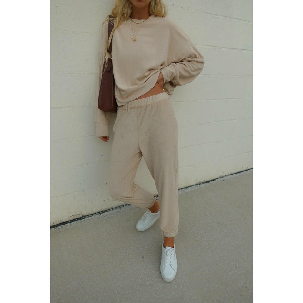 Araminta James Terry Trackpant - Biscuit