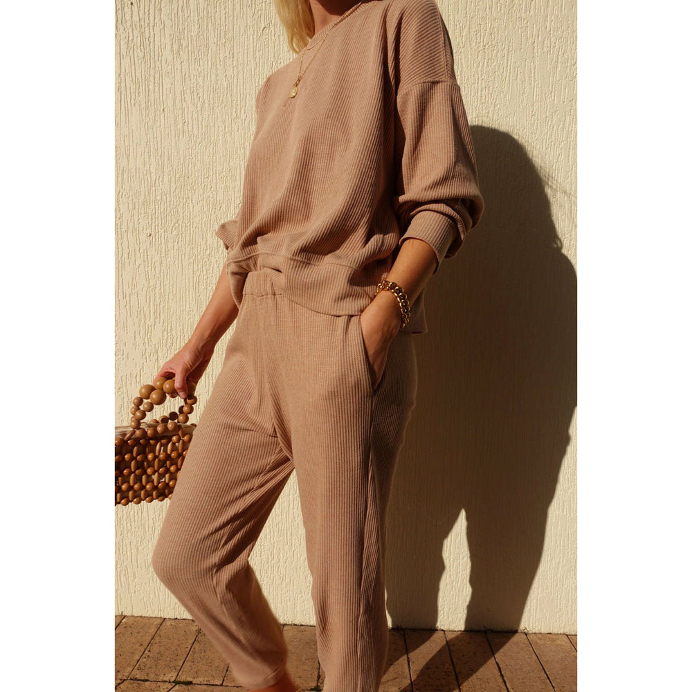 Araminta James Waffle Lounge Pant - Coffee