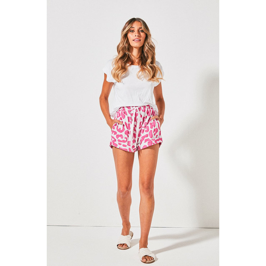 Cartel & Willow Kenji Track Shorts - Pink & Grey Leopard