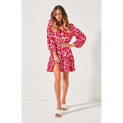 Cartel & Willow Kahlo Shirt Dress - Red & Pink Leopard