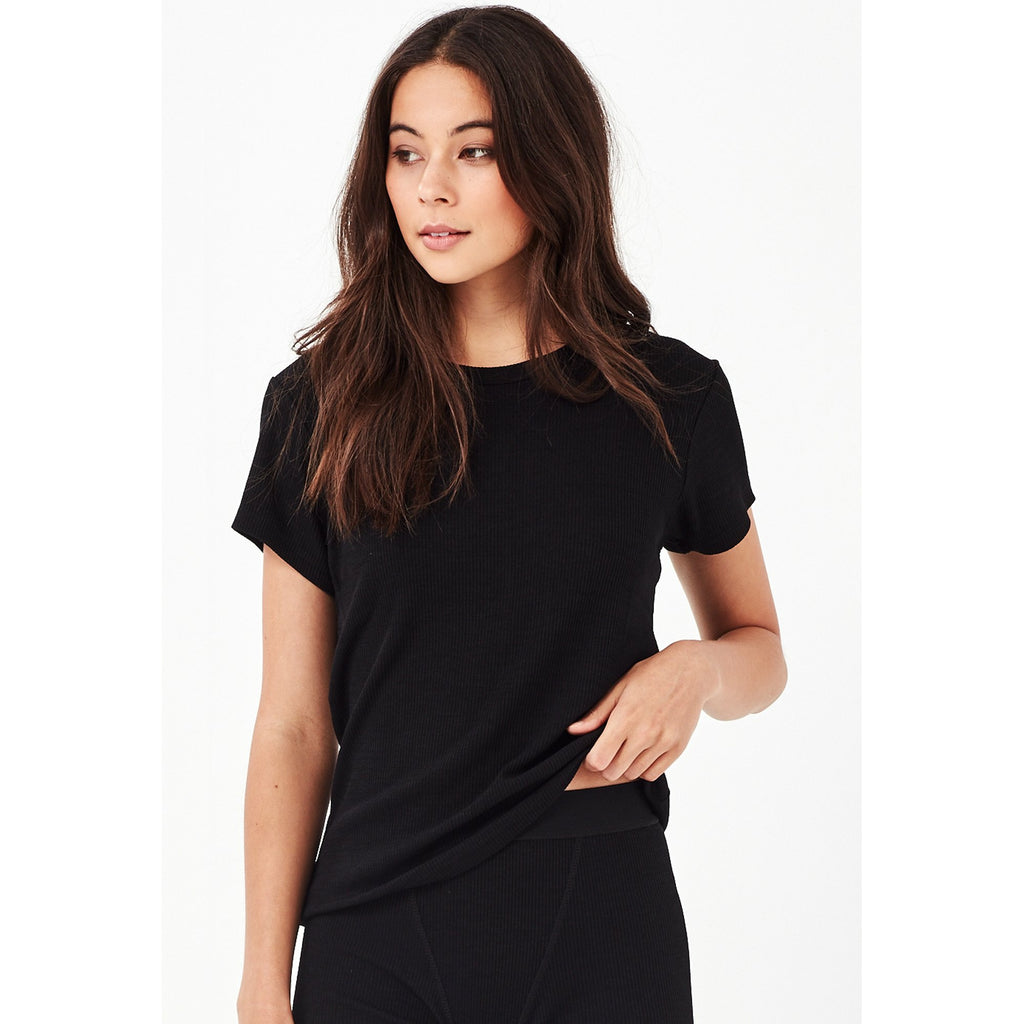 Remain Anya Ribbed Tee - Black
